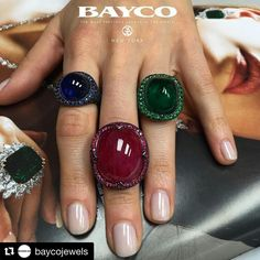 Three exceptional @BaycoJewels cabochons - blue sapphire, ruby, and emerald. Which is your favorite?