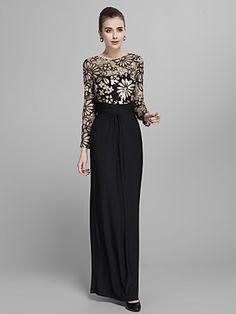 Formal Evening/Prom/Military Ball Dress - Sheath/Column Jewel Floor-length Jersey | LightInTheBox