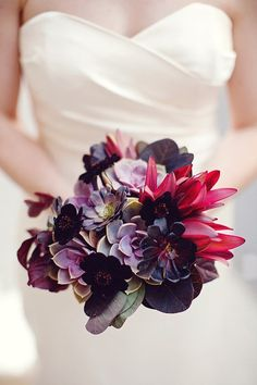 Dark red and purple bouquet makes a large impact!
