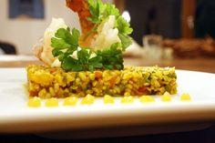 Garnele, Aioli, Tabouleh, Orangengel Aioli, Orange, Grains, Rice, Vegetables, Food, Shrimp, Food Items, Easy Meals