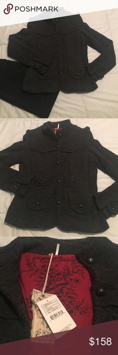 FREE PEOPLE jacket‼️SALE‼️ Beautiful details on front and back. Three pockets on the front. Buttons all the way to the top. **NEVER WORN!!**      Shell: 79%Lambswool 21%Acrylic   Lining: Body-100%Cotton  Sleeves-100%Polyester Free People Jackets & Coats