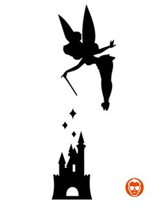Tinkerbell love the silhouette tattoos. I want to get this after I do the tinkerbell at disneyland next year Silhouette Tattoos, Silhouette Images, Disney Diy, Disney Crafts, Pumpkin Carving Disney Stencils, Poster Disney, Machine Silhouette Portrait, Disney Princess Silhouette, Disneyland Castle Silhouette