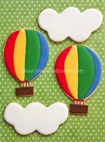 Hot Air Balloon Cookies~                 By The Royal Icing Queen, red, blue, green, yellow, white clouds