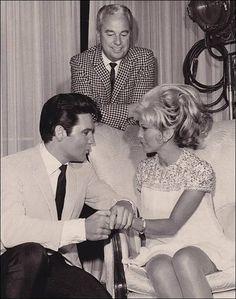 Speedway (1968) starring Elvis Presley & Nancy Sinatra — Producer Doug Laurence, Elvis & Nancy in a publicity still