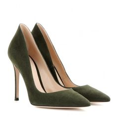 Gianvito Rossi Suede Pumps ($590) ❤ liked on Polyvore featuring shoes, pumps, heels, high heels, green, gianvito rossi, heels & pumps, green shoes, green suede shoes and high heel shoes