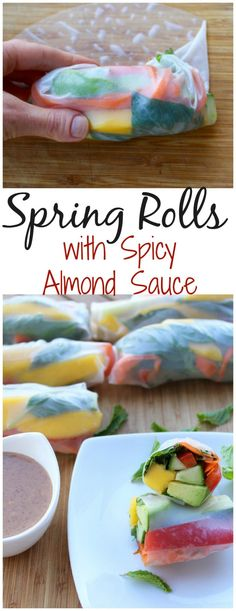 Spring Rolls with Spicy Almond Sauce