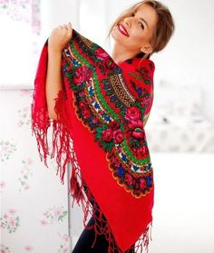 Big Ukrainian red shawl with floral print by NatsCozyShop on Etsy