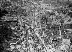 Vire, France after bombing.-