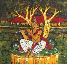 """Krishna loved to keep always His Bansuri with Him. Radha and the Gopis became jealous of the flute, as it had the rare fortune of perpetually tasting the nectar of Krishna's lips which was denied to them though they pined for it. They all determined to steal it and break it to pieces.  One day, after """"Rasa Lila"""", they noticed that their Krishna was tired, they asked Him to take rest for a while. Krishna knew their innermost thoughts but pretended deep sleep. Radha with the help of other…"""