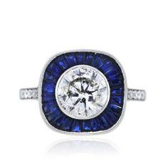 Platinum Art Deco Round Brilliant Diamond and Sapphire Engagement Ring