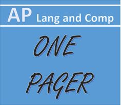 The one pager is a common assignment. This resource expands it to the rigors of AP Language and Composition, asking students to watch or look for rhetorical choices and to synthesize materials. Great for visual sources or text sources.