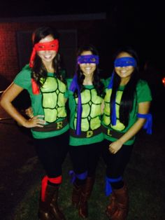 My friends and I were ninja turtles for halloween! This homemade costume only costed us 14 dollars total! Totally cute and cheap at the same time!! So why spend 50-60 bucks when you can make this simple yet cute outfit at home? #ninjaturtles