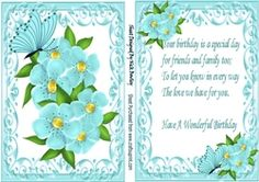 Pretty Turq Flowers In Ornate Card Front With Matching Insert With Verse