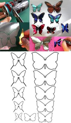 DIY Butterflies with cans! so cool! Maybe Birds too?