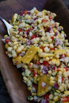 Grilled Corn Salad w/ Honey-Lime Dressing {#SundaySupper: Labor Day} | www.girlichef.com