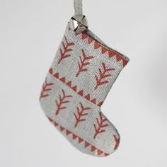 Set Of Five Hand Printed Mini Stocking Decorations