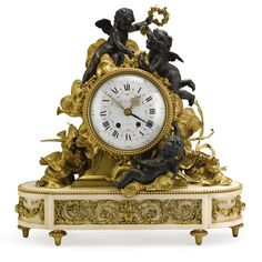 A fine Louis XVI style gilt and patinated bronze and white marble mantle clock Paris, circa 1885 Estimate — USD Large Vintage Wall Clocks, Large Clock, Antique Clocks, Classic Clocks, Retro Clock, Wall Clock Online, Mantle Clock, Wooden Clock, Plywood Furniture