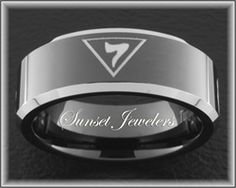 Freemason Black Tungsten Ring Engraved with Masonic Grand Elect Emblem.  FREE Inside Engraving! Sunsetjewelers.com
