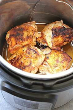 Instant Pot Chicken Thighs Recipe - the best and easy way to cook bone-in and skin-on chicken thighs in your pressure cooker.