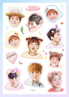 Ideas wallpaper cute exo for 2019 Exo Stickers, Printable Stickers, Cute Stickers, Cute Images For Wallpaper, Cute Wallpapers, Exo Xiumin, Kpop Exo, Kpop Logos, K Pop