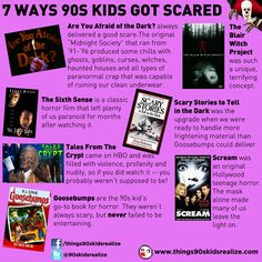 Ways 90s kids got scared...Even if you weren't born in the late 80s early 90s, the Are You Afraid of the Dark Theme song and open credits are scary!