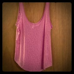 Victoria's Secret Sheer Leopard Tank Top *Worn once & didn't like the way it looked on me* *Has a flowy, loose, relaxed fit is slightly sheer so you could wear another tank, cute bra, or cute bandeau!  Brand: Victoria's Secret Size: Large Color: In between a pink and a purple. (Sorry it didn't photograph right!!) Victoria's Secret Tops Tank Tops