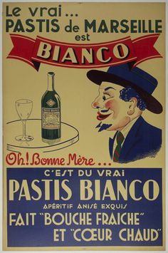 poster Pastis Bianco : Vintage Drink advert Wall art reproduction. poster