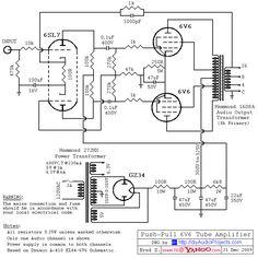 6SL7 driver / Push-Pull (PP) 6V6 / 6V6GT Tube Amplifier Schematic