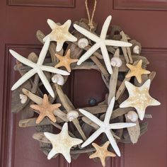 Beach Decor Starfish Driftwood Wreath - Starfish Wreath - Shell Wreath - Coastal…