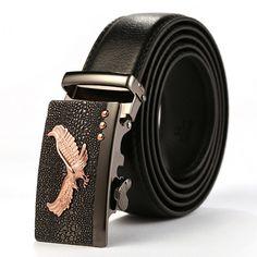 2017 Mens Fashion Genuine Leather Belt Men Belt Gold Automatic Buckle Luxury Black Strap Designer Belts Men High Quality KA001