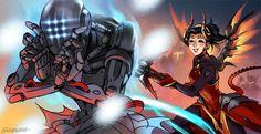 Overwatch Zenyatta and Mercy fanart by agroshka on Tumblr