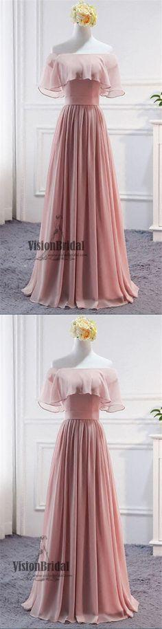 Chic Blush Pink Off The Shoulder A-Line Floor Length Chiffon Prom Dress, Elegant Prom Dress, VB0525 #promdress #promdresses