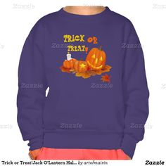 Trick or Treat! Funny Jack O'Lanterns Halloween T-Shirts and sweatshirts for kids | infants. Matching cards, postage stamps, Halloween Party Invitations and other products available in the Holidays / Halloween Category of the artofmairin store at zazzle.com