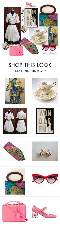 """Let's Swing!"" by seasidecollectibles ❤ liked on Polyvore featuring Oliver Gal Artist Co., Dolce&Gabbana, Mark Cross, Music Notes, Prada and vintage"