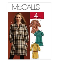 """M5925  Requires <3.25yds@45"""", <2.5@60""""  Notions (Dress A Only) 3/4 Yd. of 1/4"""" Elastic.  Fabrics:  Lightweight Fabrics Such as Cotton Blends • Challis • Crepe de Chine • Jersey. Additional Fabric may be needed to match stripes, plaids or one-way design fabric."""