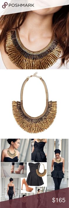 """Stella & Dot Pegasus Gold Feather Necklace A striking bib of intricate gold feathers hand sewn to silk organza cascade. Made entirely by hand in India.  As seen on TV personalities Kathie Lee Gifford, Kim & Kourtney Kardashian, and actress Shay Mitchell. As seen in Lucky, InStyle, Real Simple and Timeout Magazine! 4"""" of chain on each side with a 2"""" extender. 16 1/2"""" length. Lobster clasp. New in Box. Actual pictures coming soon. Stella & Dot Jewelry Necklaces"""