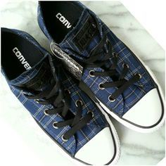 833ba3b0c933 😊Plaid Converse Low Tops 😊See Black Friday Sale Listing😊Cute and comfy  Converse low-top sneakers in blue plaid.