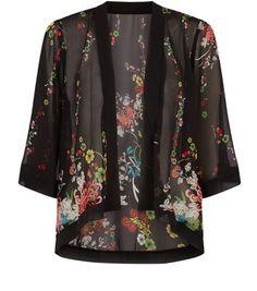 Mela - Kimono noir à imprimé floral