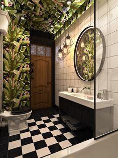 Bathroom for the boy on Behance - Badezimmer ideen Bathroom Inspo, Bathroom Inspiration, Modern Bathroom, Bathroom Small, Boy Bathroom, Bathroom Ideas, Tropical Bathroom, Bathroom Green, Master Bathroom
