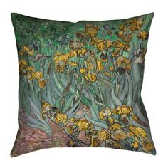 "Red Barrel Studio Bristol Woods Irises 100% Cotton Twill Pillow Cover Size: 14"" x 14"", Color: Yellow"