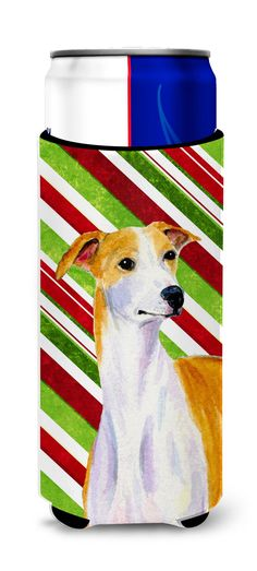 Whippet Candy Cane Holiday Christmas Ultra Beverage Insulators for slim cans LH9238MUK