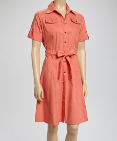 Look what I found on #zulily! Coral Belted Shirt Dress by Sharagano #zulilyfinds