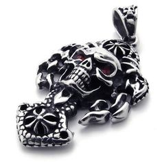 """26"""" KONOV Jewelry Stainless Steel Gothic Skull Tribal Biker Mens Necklace Pendant - Silver Red, 26 inch Chain KONOV Jewelry. $8.99. Color: Silver & Red; Material: Stainless Steel. Pendant Height: 1.97""""(5cm) Width: 1.06""""(2.7cm). Chain Length: 18"""" 20"""" 22"""" 24"""" or 26"""" Width: 3mm. Pendant arrives with one quality stainless steel chain."""