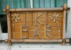 Vintage Bamboo TIKI BAR Wooden Sign Retro Party Decor