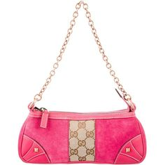 Pre-owned Gucci GG Nailhead Pochette ($230) ❤ liked on Polyvore featuring bags, handbags, clutches, pink, man bag, gucci handbags, white clutches, studded clutches and studded purse