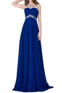 Royal blue floor length chiffon a-line prom dress finish off your elegant look. Illusion bateau neckline features luxury crystals decorated tulle on sleeveless bodice, inverted waistline adorned with crystals. V back with keyhole detail.