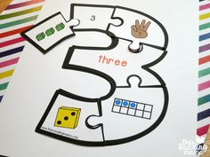 number 3 number puzzle - with different ways to represent 3