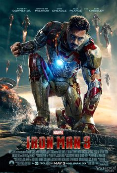 A new Iron Man 3 poster for Shane Black's Marvel sequel starring Robert Downey Jr., Don Cheadle, Gwyneth Paltrow, and Ben Kingsley. Iron Man 3 Poster, New Poster, Poster Wall, Poster Prints, Art Prints, The Avengers, Avengers Movies, Superhero Movies, 3 Movie