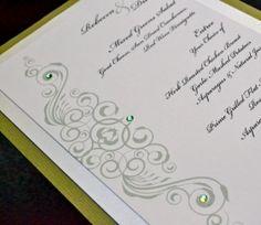 Elegant sage green wedding menu with swarovski rhinestones www.paperscissorsprint.com