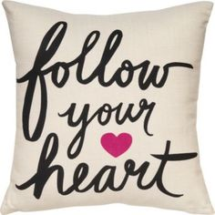 Make a statement with our graphic canvas pillow featuring an inspiring message in bold typography and a fuchsia heart. A Paper Source exclusive design.<br /><br />Size - 12 x 12